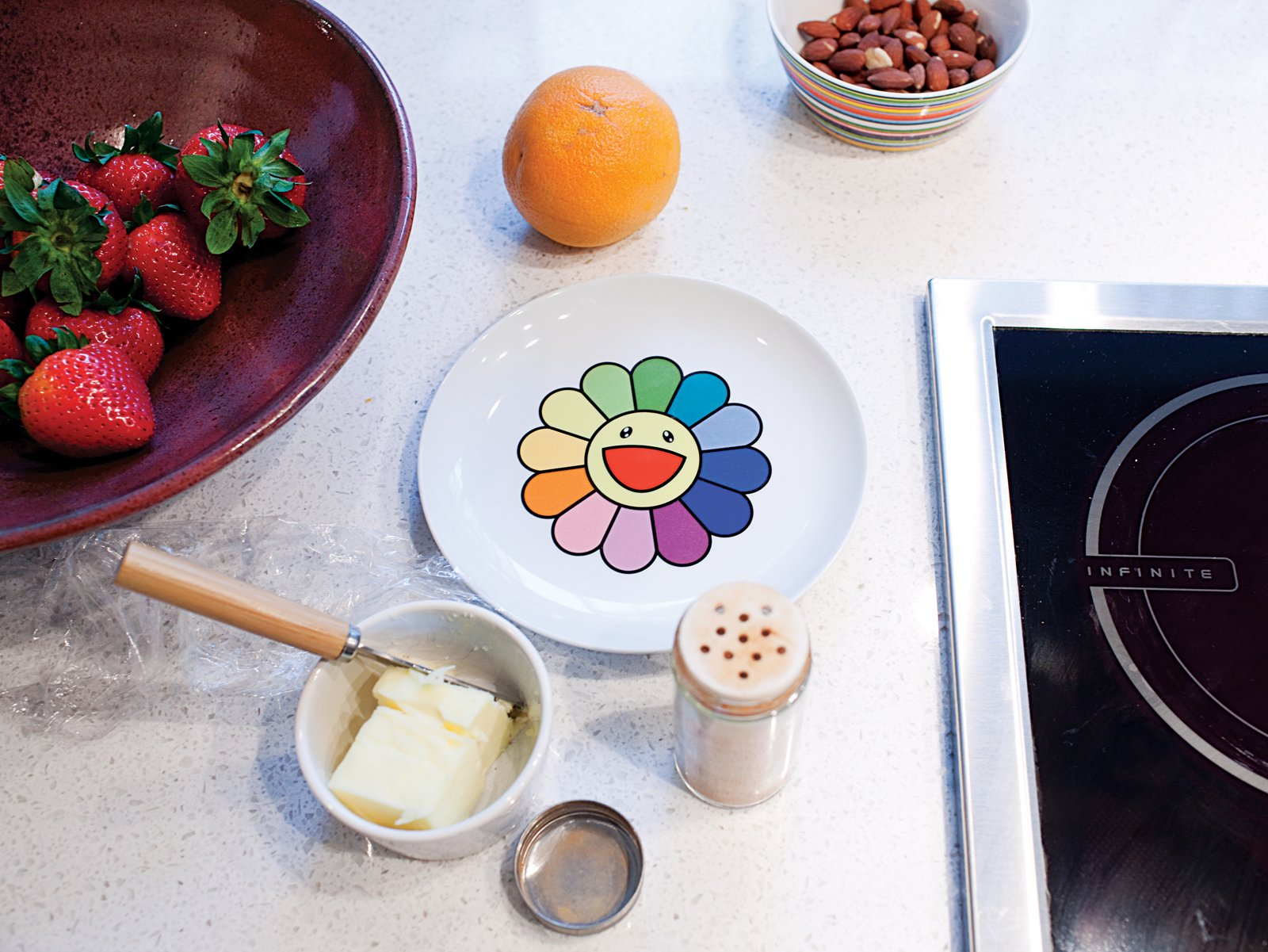 This limited-edition ceramic plate by artist Takashi Murakami was specially commissioned for the Walker Art Center.  Photo 9 of 29 in Modern Urban Retreat in South Minneapolis