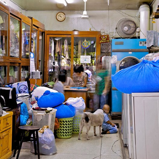 """Laundry,"" Bangkok, Thailand. (2010)  Bangkok's Storied Shophouses by Diana Budds"