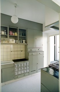 Designed in 1926-27, Schütte-Lihotzky's kitchen features thoughtful arrangement of storage, appliances, and work surfaces and is the precursor to the 1950s yellow and green kitchens and the kitchen as the hearth of the home.