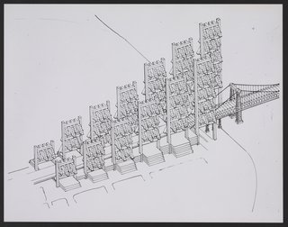 These Gateway buildings would have flaked the approach to the LME from the Williamsburg Bridge. 1970. Photographic Print, 11 x 14 inches. Courtesy of the Paul Rudolph Archive, Library of Congress Prints and Photographs Division.