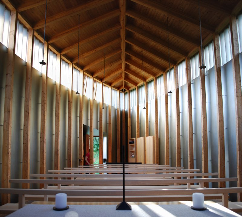 Here is the perspective from behind the altar. The high windows let in an ethereal sense of daylighting without the distraction of direct outside views.  A Pilgrimage to Zumthor's Chapel by Tiffany Chu