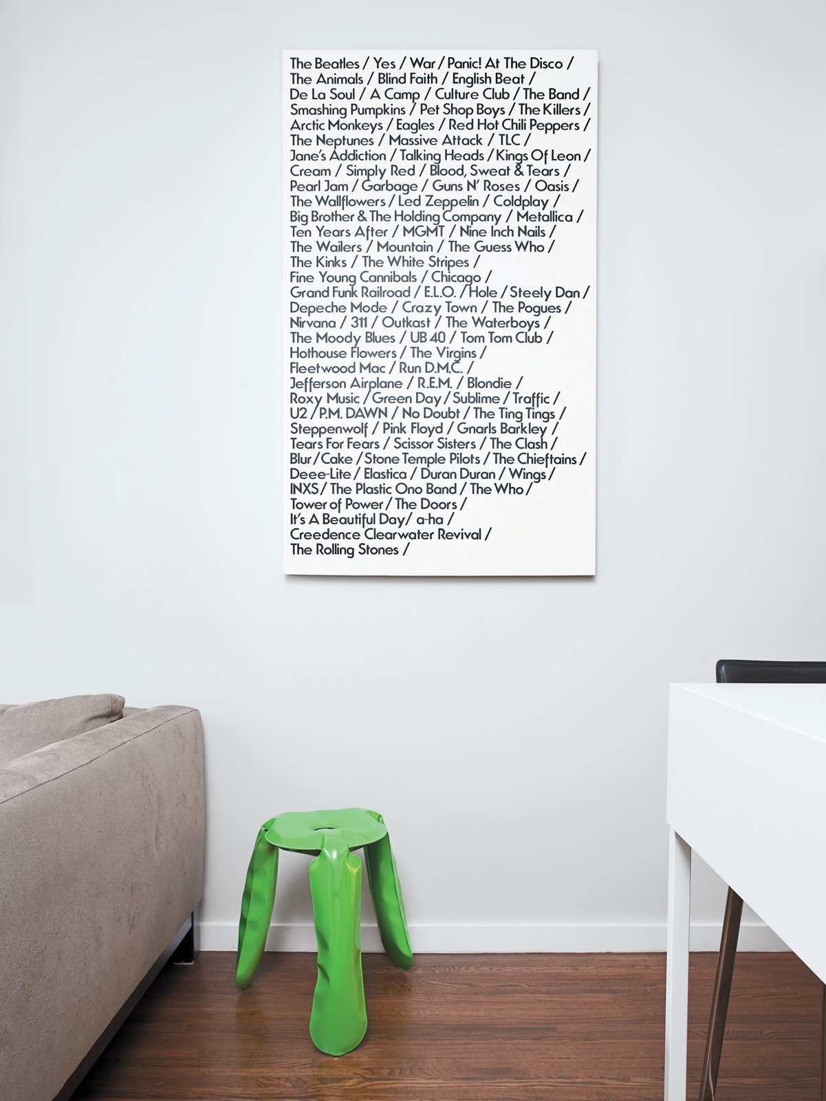 """Living Room, Medium Hardwood Floor, and Stools Pozner fills down time with creative projects, such as the """"List Art"""" canvas featuring his favorite bands.  Photo 1 of 12 in The Manhattan Transformation"""