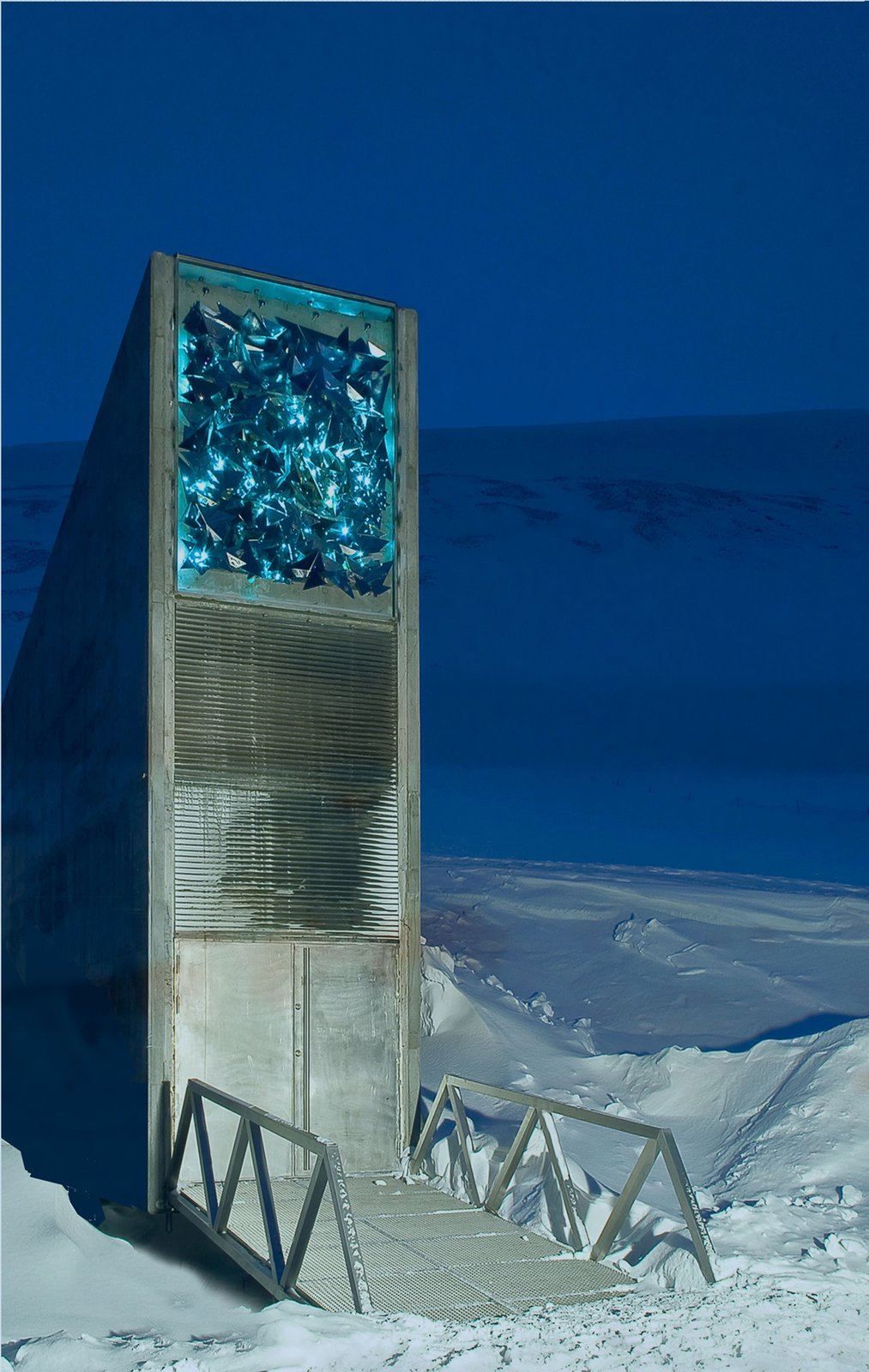 Svalbard Global Seed Vault, Svalbard, Norway, 2007. Designed by BC Arkitektur Barlindhaug Consult A.S. of Norway and Project Architect Peter Wilhelm Söderman of Finland. Photo by Jaro Hollan.  Cabins & Hideouts from Snøhetta Curates Nordic Design