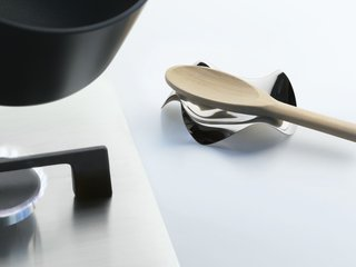 The Blip spoon rest by Paolo Gerosa is one of Matteo Alessi's recent favorites from his family's massive collection of design products.