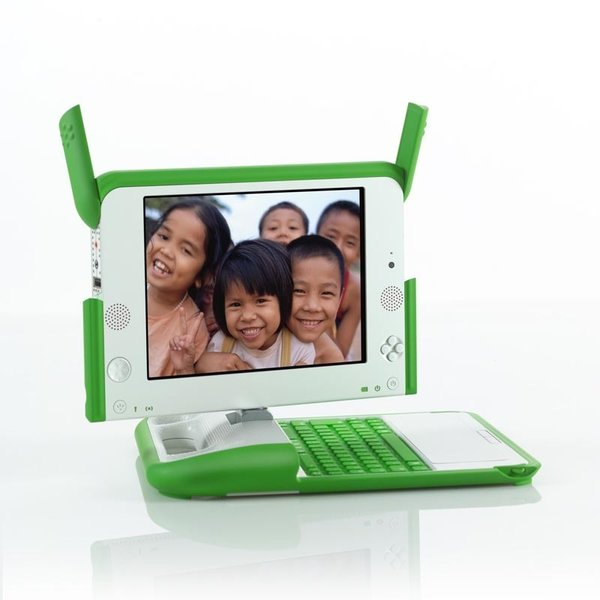 One Laptop Per Child XO Laptop designed in 2005 by Yves Behar. Made of PC/ABS plastic, rubber, and other materials. Manufactured by Quanta Computer in Taiwan.