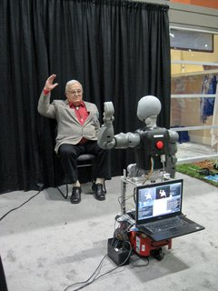One-on-one fitness instruction plays a significant role in motivating seniors to stay in shape. A talking robot dubbed Bandit encourages a person seated in front of it to engage in customized exercises, ranging from easy to challenging. Although still in the research and testing stages, the robot is capable of leading a person through a series of arm movements or imitating arm movements modeled by the person. It's one of six socially assistive robots, or SARs, being developed by the Interaction Lab of theViterbi School of Engineering at the University of Southern California. For more information, see Interaction Lab.