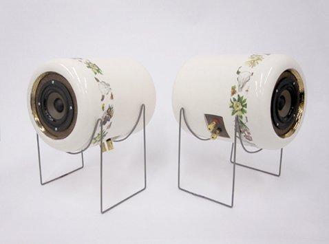 Ceramic speakers, by Emily Carr University of Art & Design industrial design student Tom Chung.