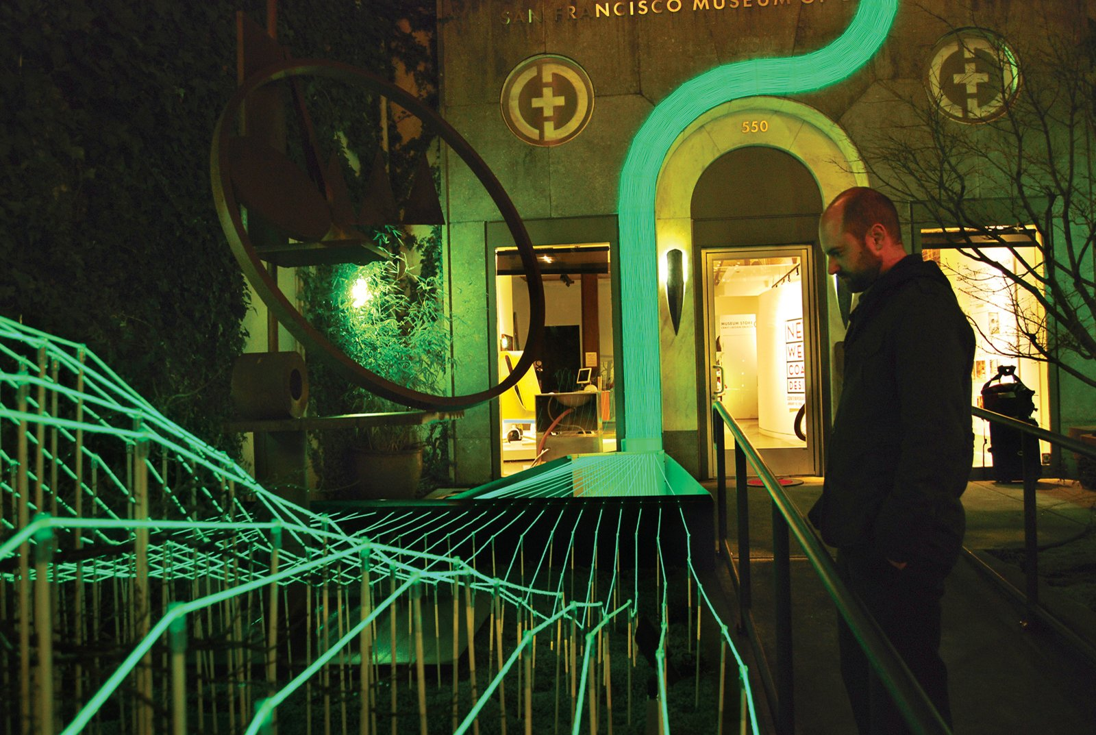 To lure visitors into an exhibition at San Francisco's Museum of Craft and Design, Wilson strung up solar-powered phosphorus-coated wires, creating a glowing path to the museum's front door.  Photo 1 of 6 in Landscape Architecture: Marcel Wilson