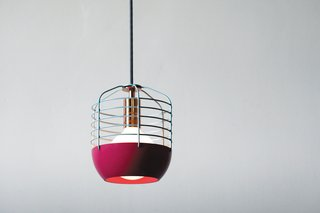 Takagi's Bluff City pendants are work lights with a kick of color and a hint of copper.