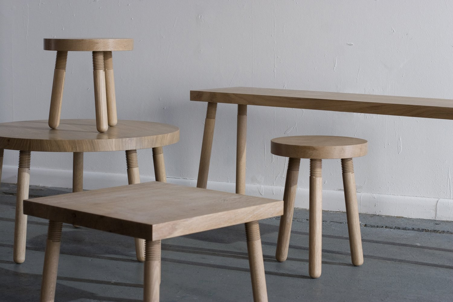 Living Room, Bench, and Stools Simple utilitarianism at its finest: Takagi's Simple Machines series of stools, benches, and tables in white oak.  Photo 1 of 6 in Getting Technical: 5 Types of Wood Joints You Should Know from Industrial Design: Atelier Takagi