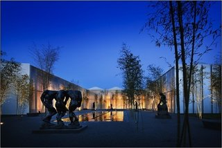View of Rodin Courtyard, West Building, North Carolina Museum of Art.