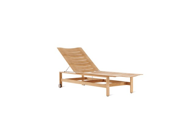 Taking its formal cues from the Charles and Ray Eames's molded ply leg splint, DWR's Elan chaise made of FSC-certified teak brings the sculpted lines of molded furniture to the outdoors.