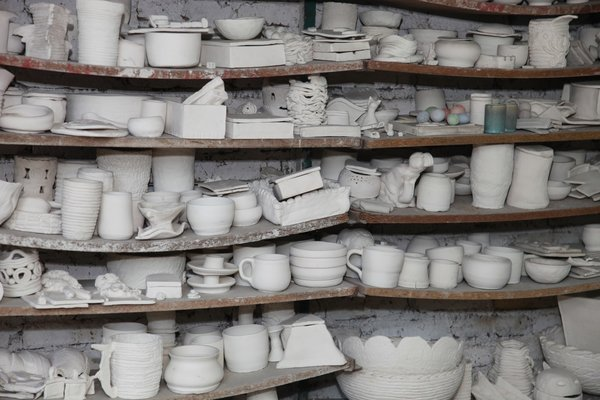 Here's a mess of pots waiting to be fired.