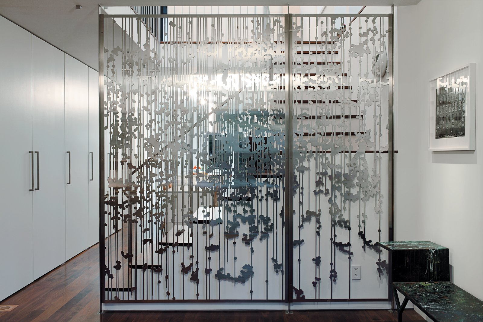 Another view Magnes's aluminum screen divider.  190+ Best Modern Staircase Ideas from An 1850 schoolhouse in Milford, Pennsylvania