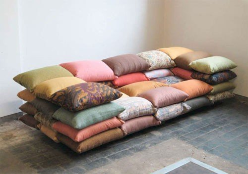 Högner designed this couch out of a series of pillows.  Three Questions for Christiane Högner by Aaron Britt