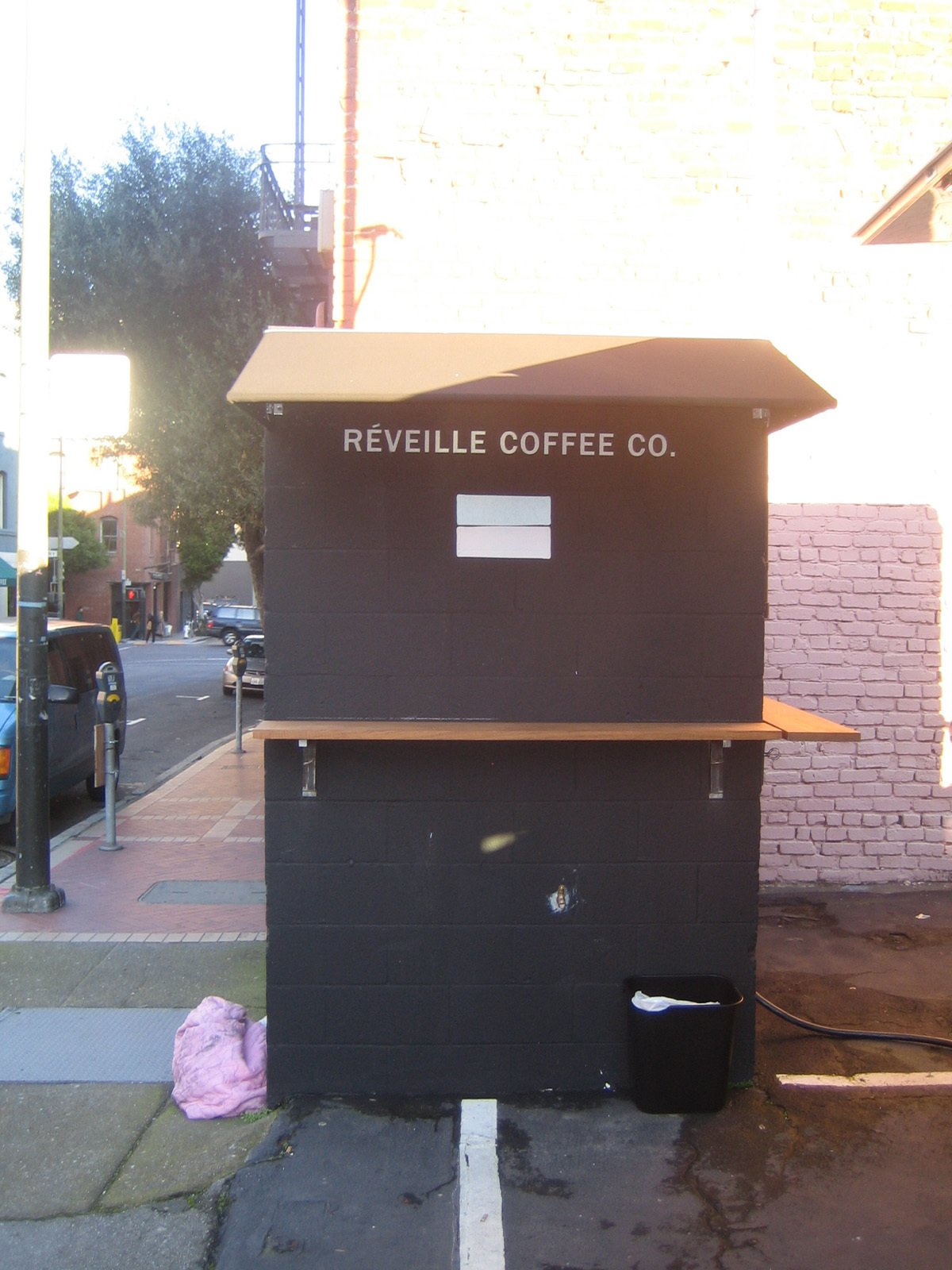 A rare thing indeed: a food cart with a tiny bit of physical infrastructure. Tommy said that during the summer he and his brother are thinking about painting the shed white.  Photo 6 of 8 in Réveille Coffee Company Truck