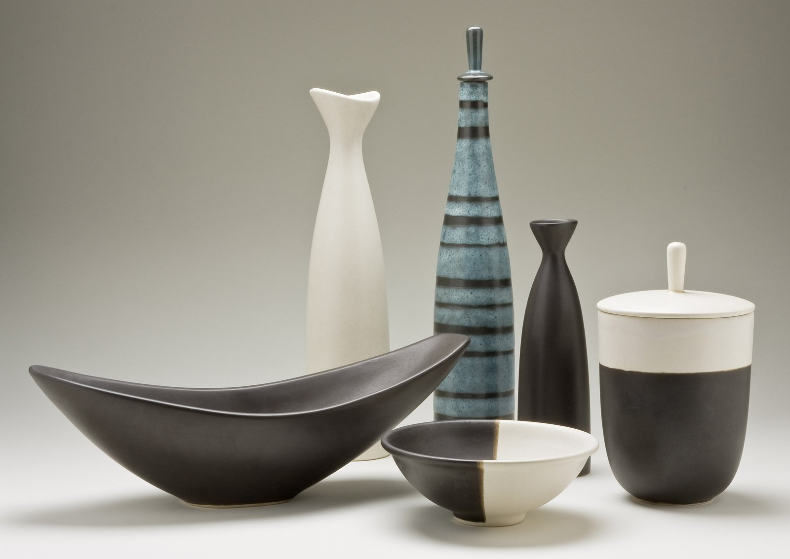 Selection of functional ceramic vessels, slip-cast earthenware, Jerome Ackerman, 1953-59.  A Marriage of Craft and Design by Miyoko Ohtake