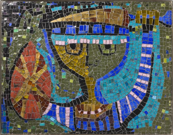 Young Warrior, glass-tile mosaic, Evelyn Ackerman, 1955.