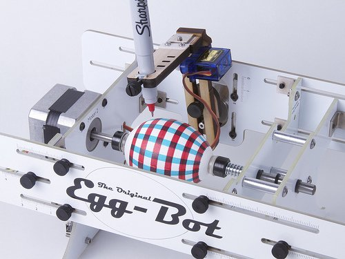 Eggbot, a CNC plotter for creating Easter Eggs on a small scale.