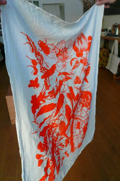 """Lucky Fish 4 Edible Schoolyard dishtowel, $20. """"Alice Waters is a hero of mine and has been incredibly supportive of Lost & Found. I can't think of a better way to support her magnificent foundation than to create a fund-raising product that has design appeal and is useful."""""""