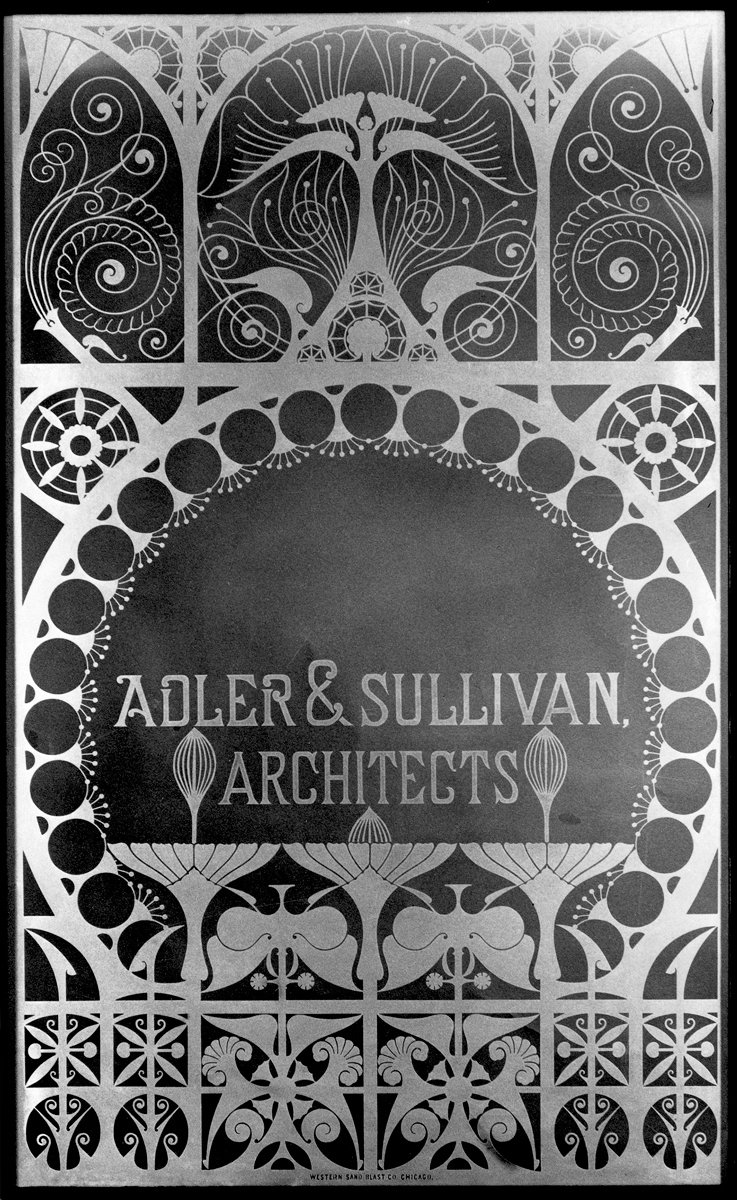 Glass window panel from the firm of Adler & Sullivan. Photo courtesy of The Richard Nickel Committee and Archive.  Photo 1 of 19 in The Architecture of Adler & Sullivan