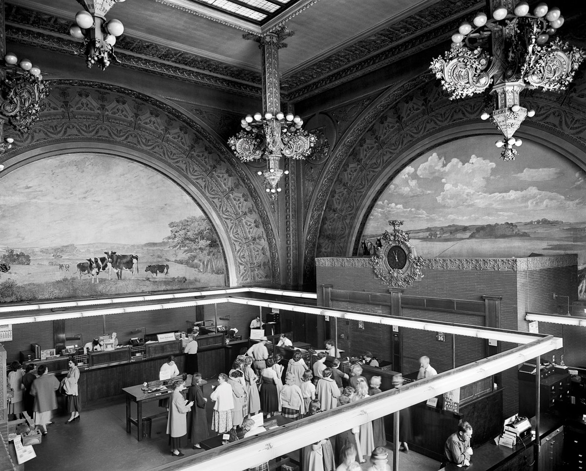Banking room of the National Farmers' Bank, Owatonna, Minnesota, built 1907-1908. Photo courtesy of The Richard Nickel Committee and Archive.  Photo 17 of 19 in The Architecture of Adler & Sullivan