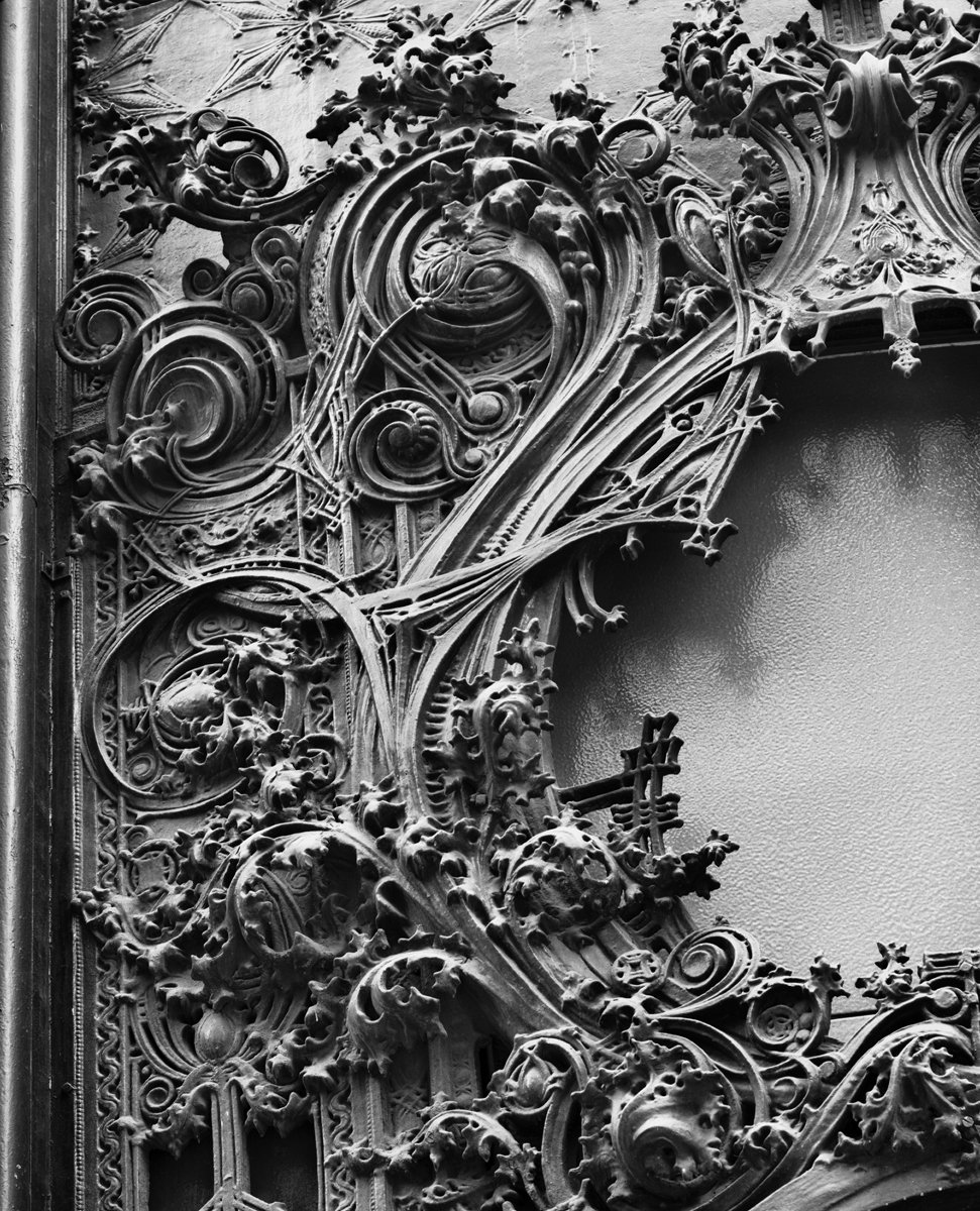 Detail of the Schlessinger and Meyer Department Store, Chicago, Illinois, built 1899-1904. The National Farmers' Bank, Owatonna, Minnesota, built 1907-1908. Photo courtesy of The Richard Nickel Committee and Archive.  Photo 19 of 19 in The Architecture of Adler & Sullivan