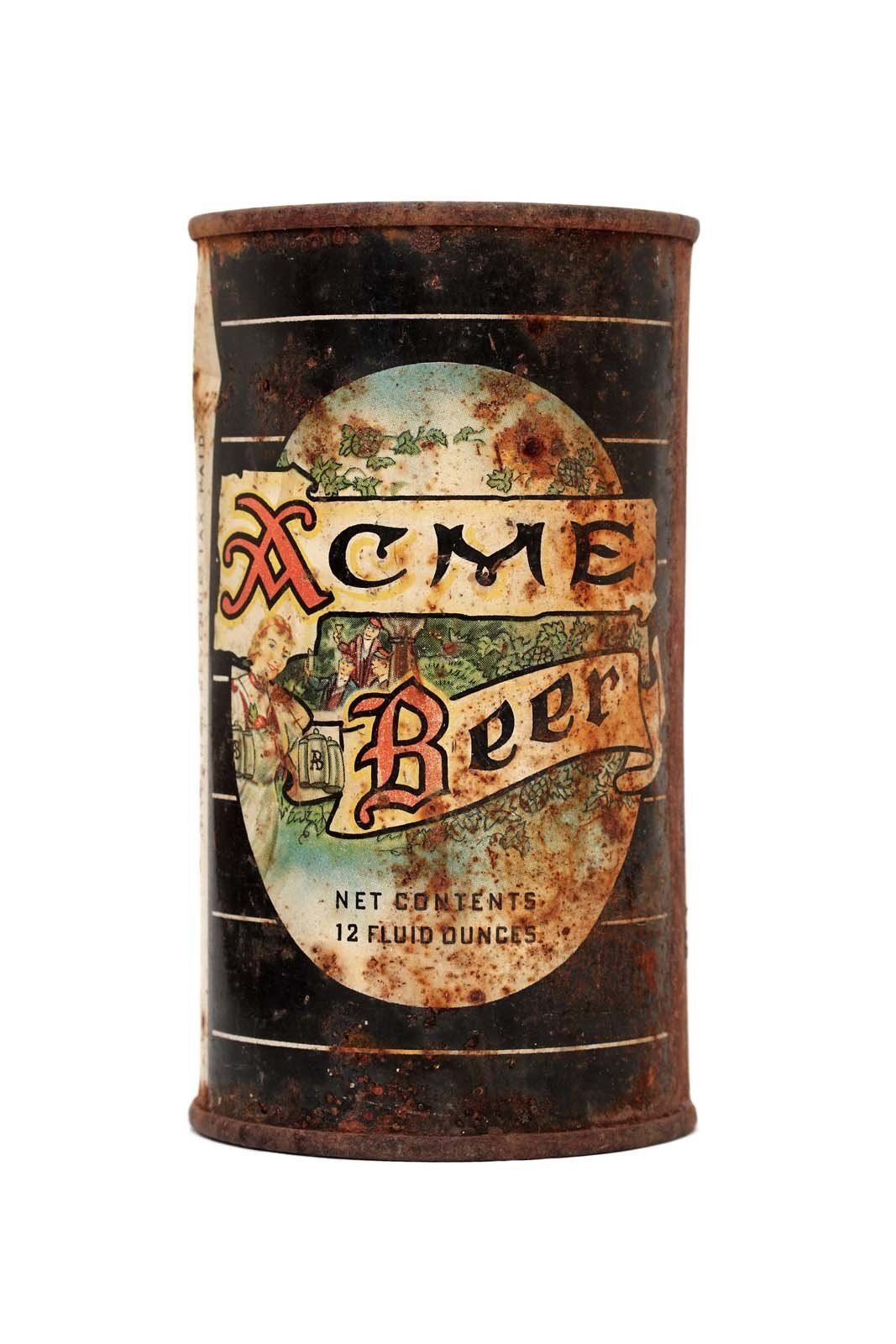 San Francisco's Acme Brewing Co. was one of the first California breweries to sell their beer in cans. This one dates to the second half of the 1950s.  Local brews from Beer: The Designs of Drinking