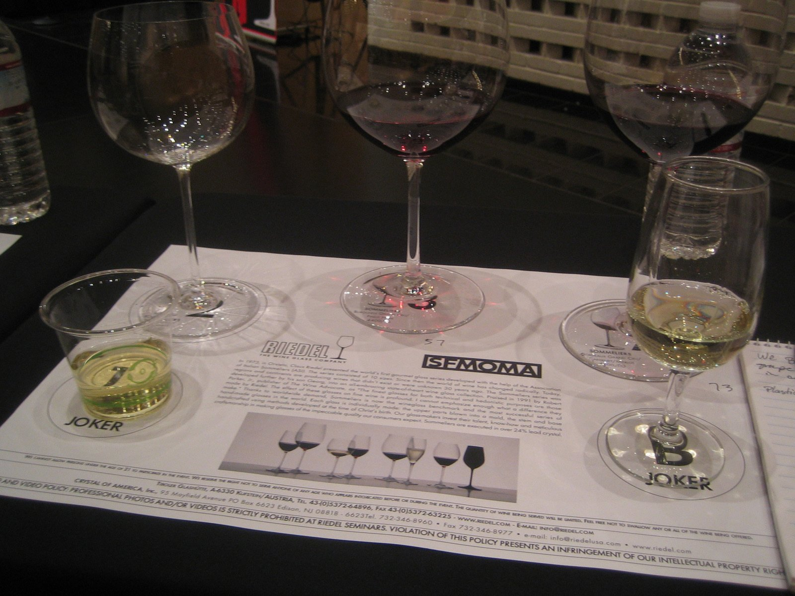 """My placemat with the trio of Sommeliers glasses and the pair of """"Jokers""""--the plastic cup and a run-of-the-mill wineglass.  Photo 3 of 5 in Wine Tasting with Georg Riedel"""