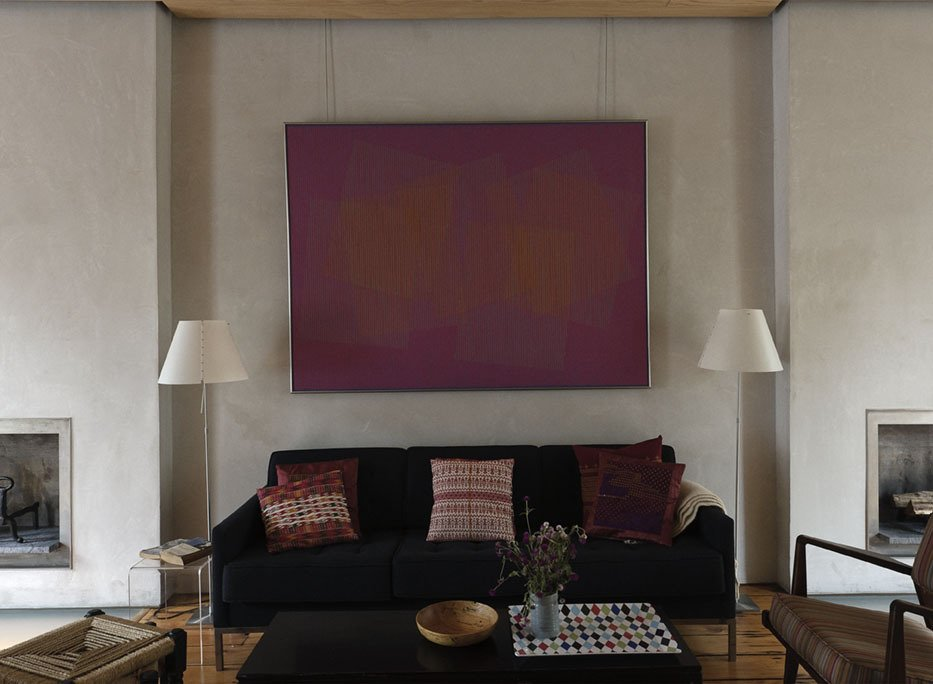 The 1968 painting above the sofa is by op-artist Julian Stanczak. The concealed picture rail from which it hangs runs the perimeter of the room.  Photo 24 of 28 in Family Home Renovation in Brooklyn