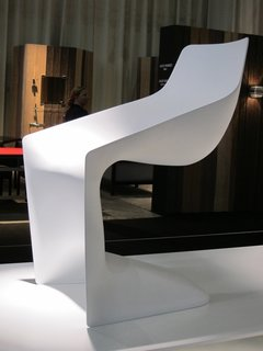 I was quite smitten with two new chairs at Kristalia. This is the Pulp by Christophe Pillet. With its monochrome cantilever, it's like a fresh, angular update on the classic Panton chair.