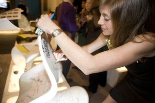 Canadian designer and television personality Sarah Richardson signs her revamped Panton S Chair.