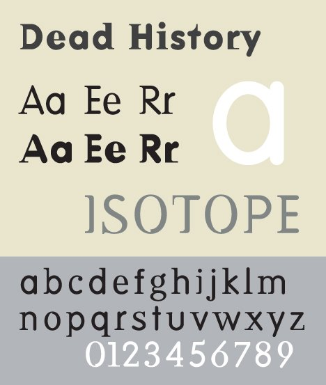 """""""Dead History"""" designed by P. Scott Makela in 1990 is one of the 23 typefaces recently acquired by MoMA. Photo: Wikimedia Commons.  Search """"commons grounds"""" from Carmody Talks Typefaces"""