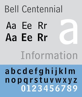"""""""Bell Centennial"""" designed by typographer Matthew Carter in 1976-1978. Carter is still active designing typefaces today, including the recently released """"Carter Sans."""" Click here to read more about Carter's new typeface."""