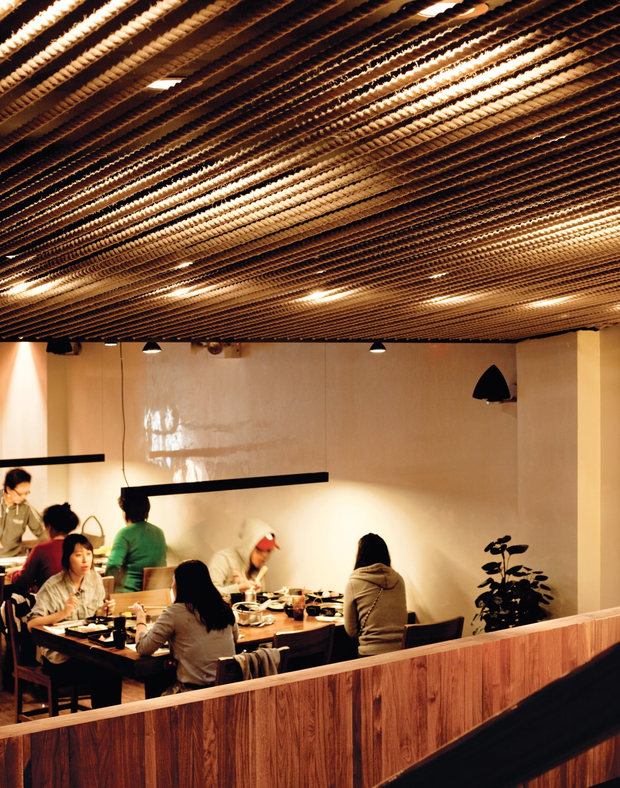 With its orderly rope-covered ceiling and sleek bars of light, Minnis Shabu Shabu, John Hsu's restaurant, is purposely at odds with Flushing's aesthetic.  Photo 3 of 3 in Queens