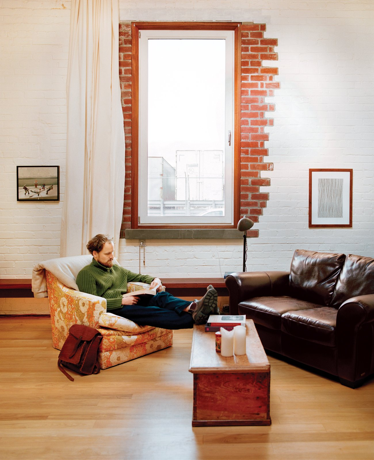 Wolf also enlarged the 16-by-30-foot space's single window.  Photo 1 of 11 in 10 Charming Brick Interiors from Brooklyn