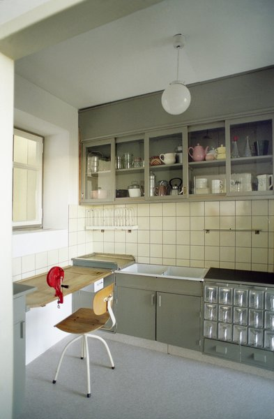 As part of the exhibit, MoMA installed a replica of Grete Schutte-Lihotsky's Frankfurt Kitchen. It was designed in the mid 1920's as part of a worker housing complex in Frankfurt.