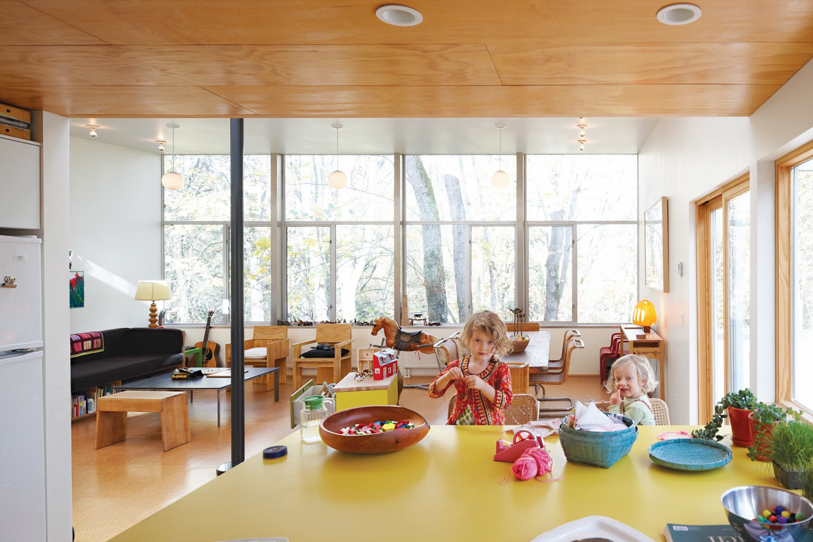 Hale's material preferences helped keep costs low: Inexpensive plywood lines the ceiling and cork covers the floors. He covered the kitchen island with yellow plastic laminate.  Photo 10 of 21 in A New Slant