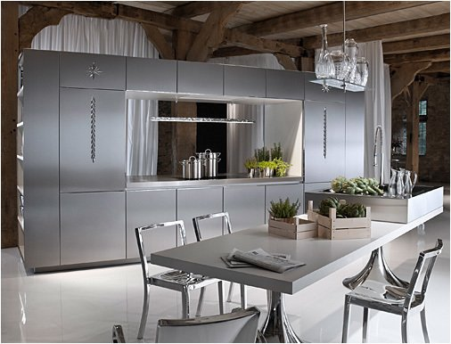 The stainless steel Duality Kitchen stands ready to compete with the likes of Bulthaup and other iconic kitchen manufacturers.  Photo 3 of 7 in Philippe Starck's Library Kitchen