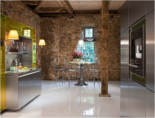 """Though easily avoided if you wish with the right details and accompanying furniture, the system was meant to """"emphasize the Baroque styling of the kitchen,"""" the company says.  Photo 6 of 7 in Philippe Starck's Library Kitchen"""