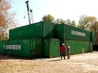 Moving the containers into place took just over five hours. Photo ©2011 epic software group, inc.
