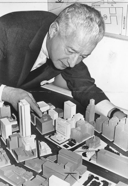 Borough president Abe Stark examining a dimensional model of the new Civic Center. World-Telegram & Sun, April 24 1963. (courtesy of the Library of Congress, Prints & Photographs Division, NYTWT&S Collection)
