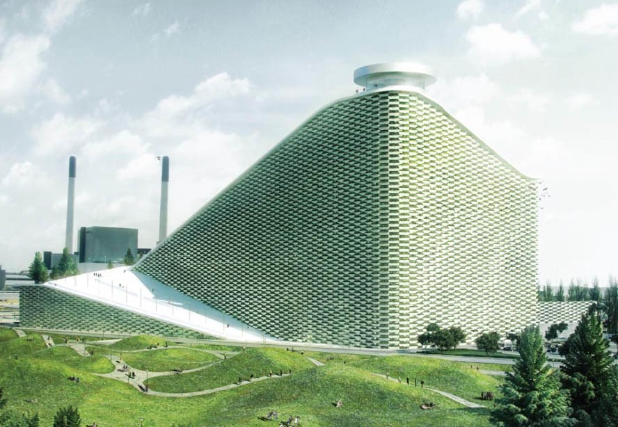 """Copenhagen's future waste-to-energy plant features the a ski slope and a smokestack that will blow """"rings"""" of CO2, which each represent one ton of emissions. Combining a environmentally sustainable building with a social program—the ski slope—represents Ingels' theories of """"hedonistic sustainability"""" and """"bigamy."""" Photo via B.I.G.  Photo 2 of 4 in Bjarke Ingels on 'Bigamy'"""