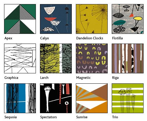 The Centre for Advanced Textiles' gallery of reproduced textiles by 1950s designers Lucienne Day, Robert Stewart and Sylvia Chalmers. Image via The Centre for Advanced Textiles.  Photo 2 of 4 in Mid-Century Textile Design