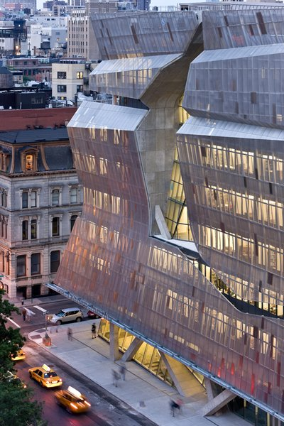 A jagged cut in the screens defines one facade of Morphosis's 41 Cooper Square in New York City.
