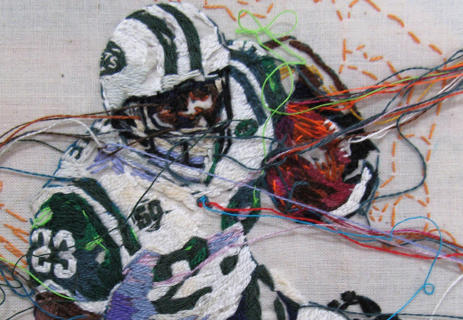 """A detail of Shonn Greene by artist Lauren DiCioccio, which shows the intricate embroidered patterns employed in her work. Image courtesy of the artist and the Jack Fischer Gallery.  Photo 1 of 3 in YBCA's """"Remember the Times"""""""