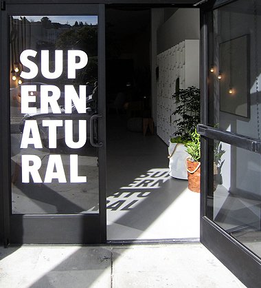 Supernatural's graphic logo features prominently on their front door.  Supernatural San Francisco by Jaime Gillin