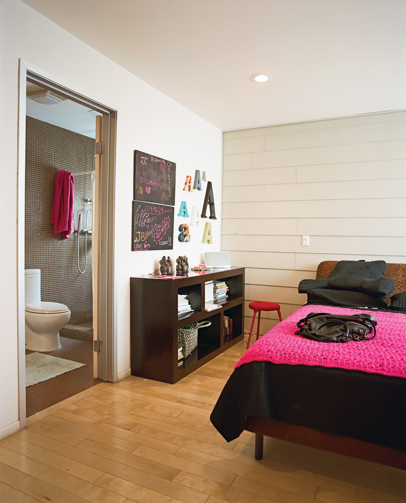 The bedroom in the guesthouse features cheery colors.  Photo 10 of 13 in Modern in Tijuana