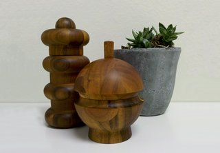My new favorite items at my house: two Jens Quistgaard mills, reissued by Dansk for Crate and Barrel.
