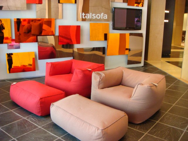 """In their Seorita armchair, Italsofa creates a """"grown-up"""" bean bag chair (a favorite of mine as a child). I particularly liked the wool version and leather is available.  High Point Market 2011 by Diana Budds"""